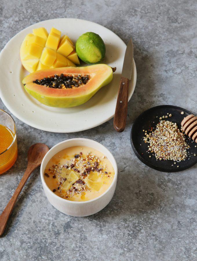 Vegan Mango Papaya Smoothie Bowl