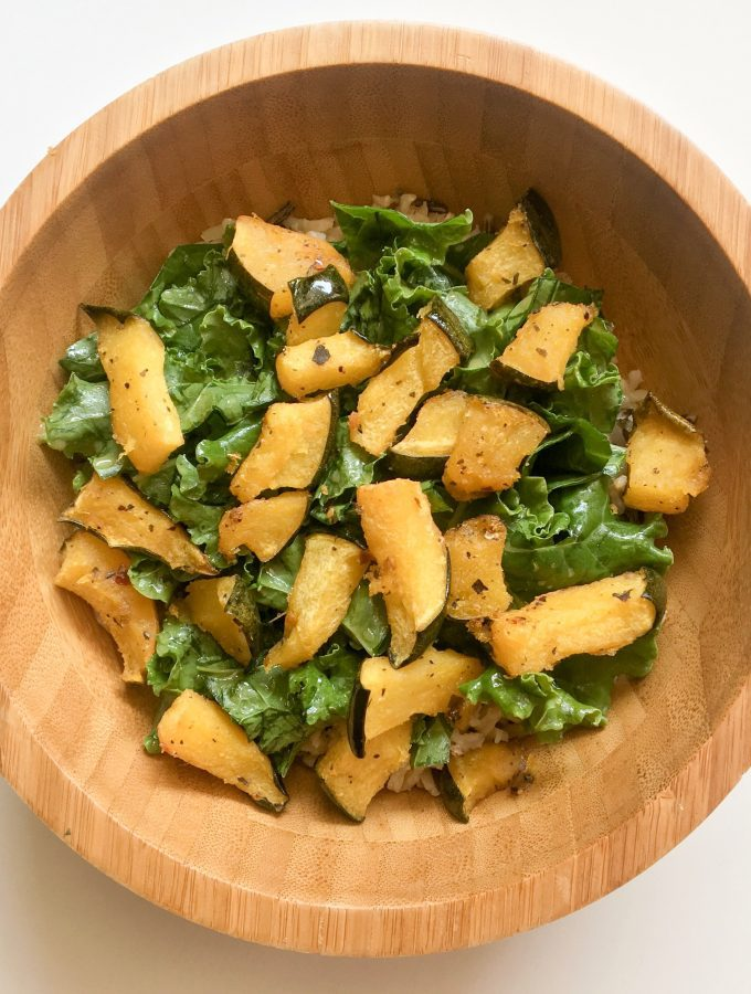 Roasted Acorn Squash with Kale and Wild Rice