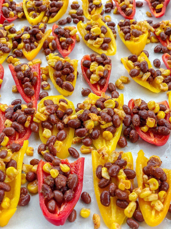 Vegan Mini Sweet Pepper Nachos