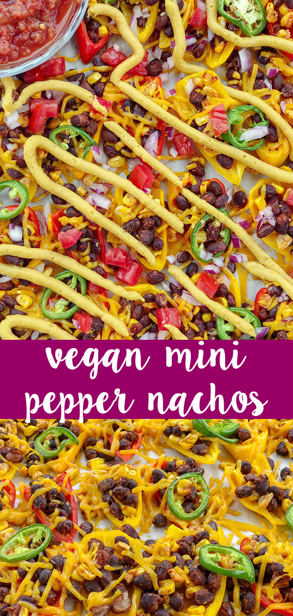 Vegan Mini Sweet Pepper Nachos are the ultimate low-carb, dairy-free, and gluten-free snack sure to please any crowd.Pefect for parties and game day! #theurbenlife #vegan #vegannachos #bellpeppernachos