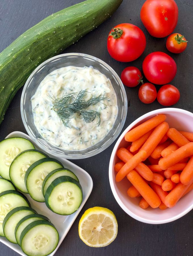 This vegan tzatziki recipe is made with yogurt, fresh dill, grated cucumber, garlic, and lemon juice. No added oil!