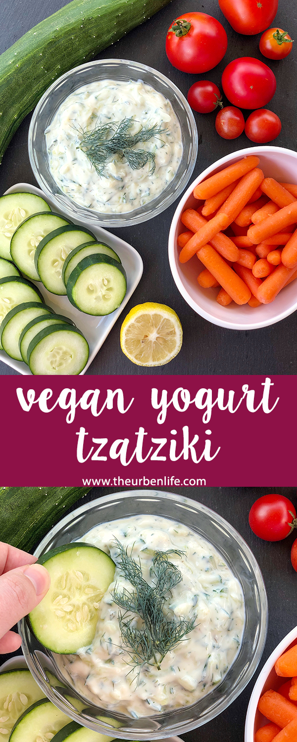 This vegan tzatziki recipe is made with yogurt, fresh dill, grated cucumber, garlic, and lemon juice. No added oil! Makes the perfect dip or drizzle.