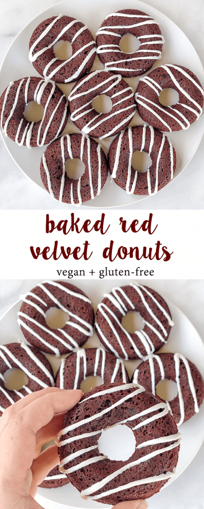 Baked Red Velvet Donuts are vegan and gluten free treats drizzled with icing. An easy recipe using allergy-friendly brownie mix, ready in 30 minutes