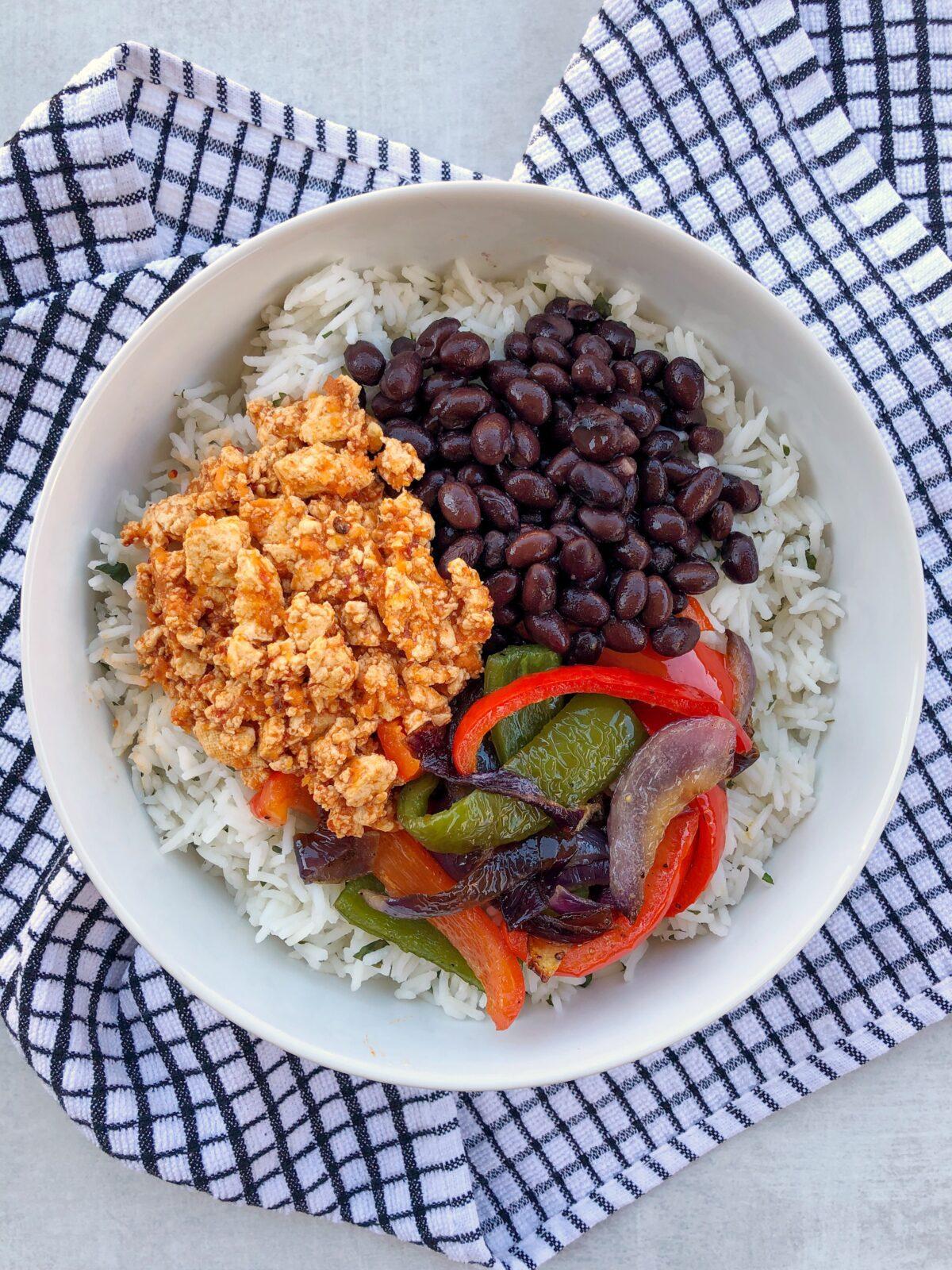 Easy Homemade Tofu Sofritas Burrito Bowl with Cilantro Lime Rice