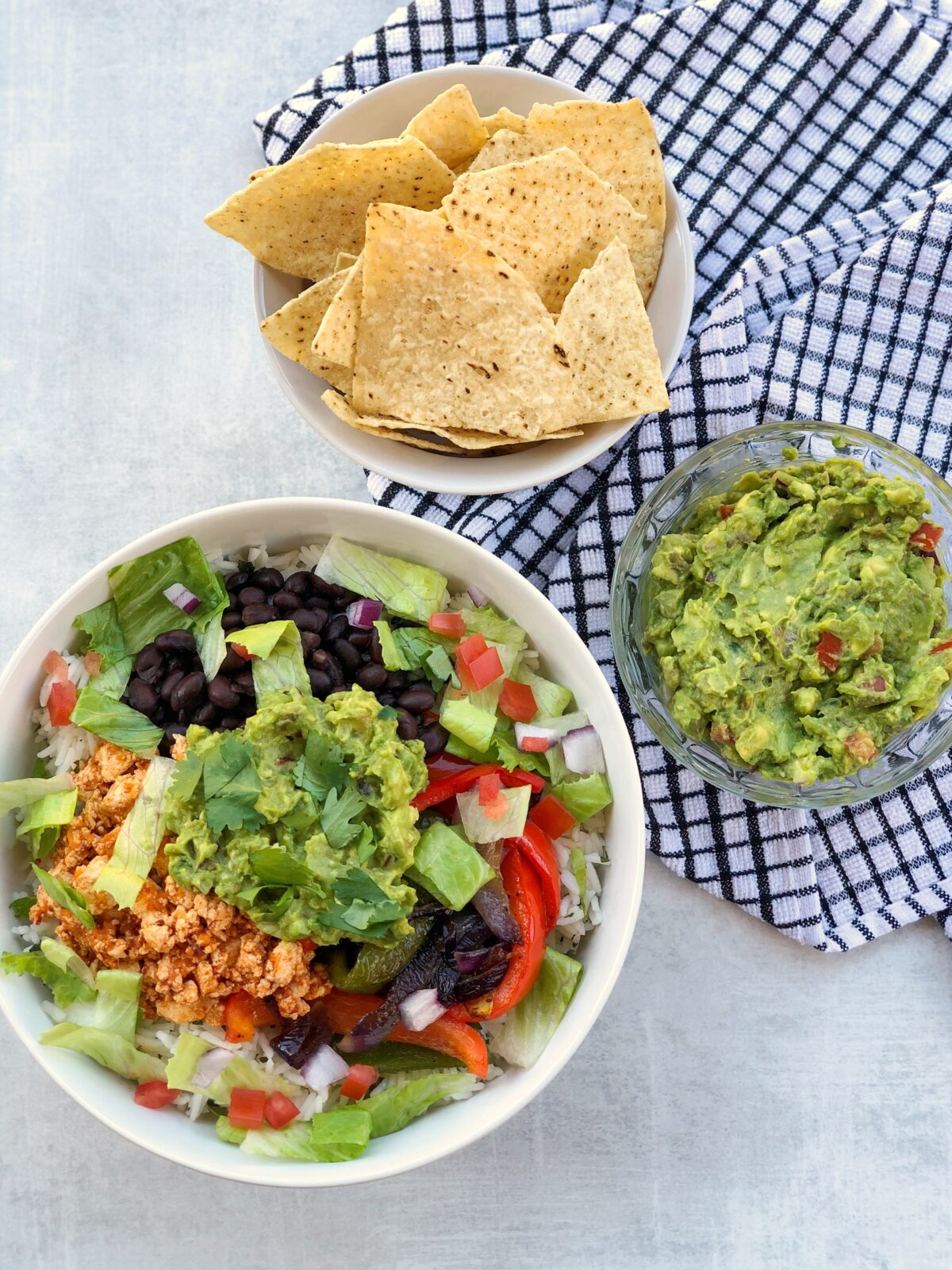 Homemade Sofritas Burrito Bowl with Cilantro Lime Rice with Chips and Guacamole