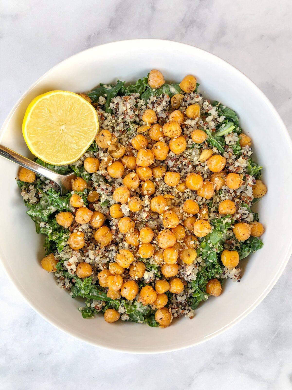 Chickpea Kale Caesar Salad