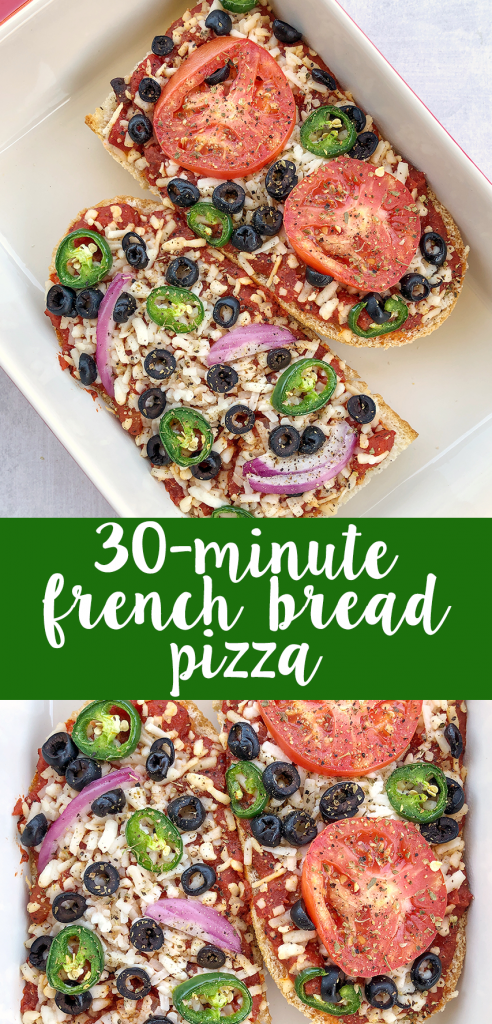 French Bread Pizza makes for a fun, fast, and easy dinner! Customize with your favorite pizza toppings or what you have on hand #easyrecipes #dairyfree