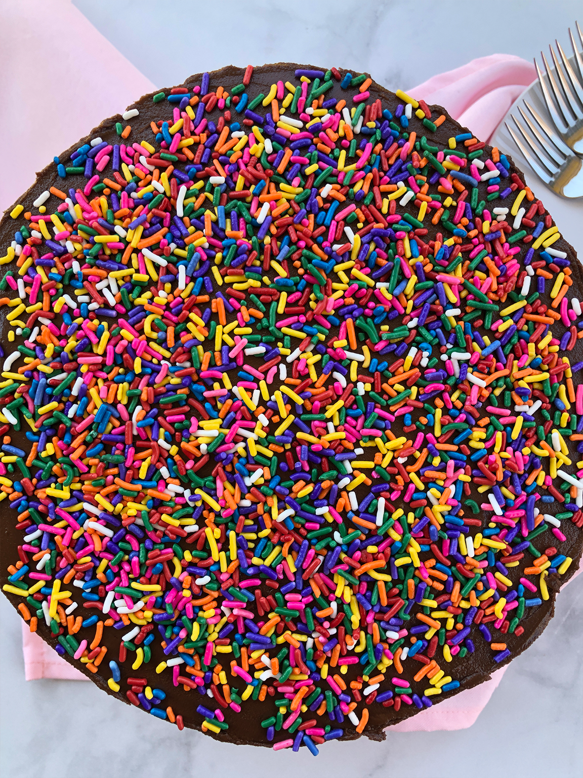 Dairy-Free and Egg-Free Vanilla Cake with Chocolate Frosting and Sprinkles
