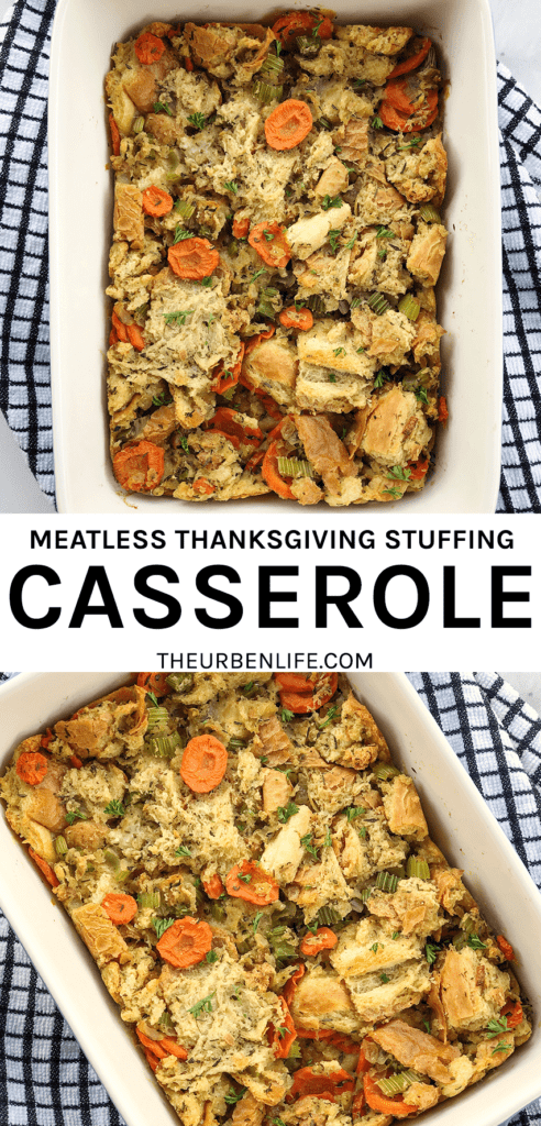 This simple savory meatless stuffing casserole is delicious, dairy-free, and egg-free! Perfect option for a vegan or vegetarian thanksgiving.