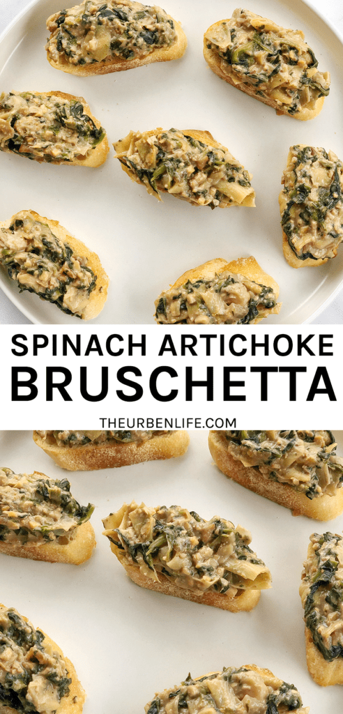 Spinach Artichoke Bruschetta are adorable individual bites, perfect for the holidays, happy hour, game day, or any occasion requiring finger food! Vegan, dairy free, gluten free